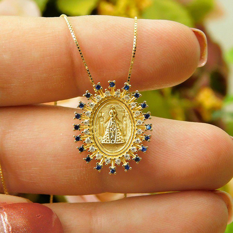 Pingente em Ouro 18K Medalha Nossa Senhora Aparecida STM14ZA