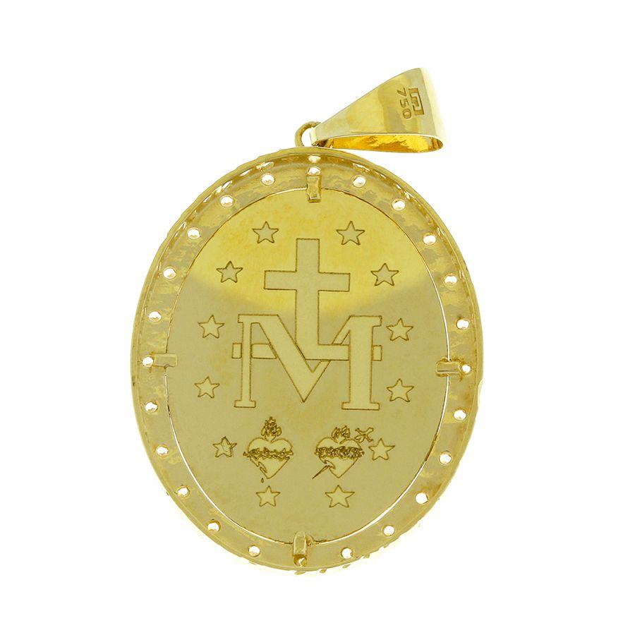 Pingente em Ouro 18K Medalha Nossa Senhora das Graças com Zircônia  NP90583