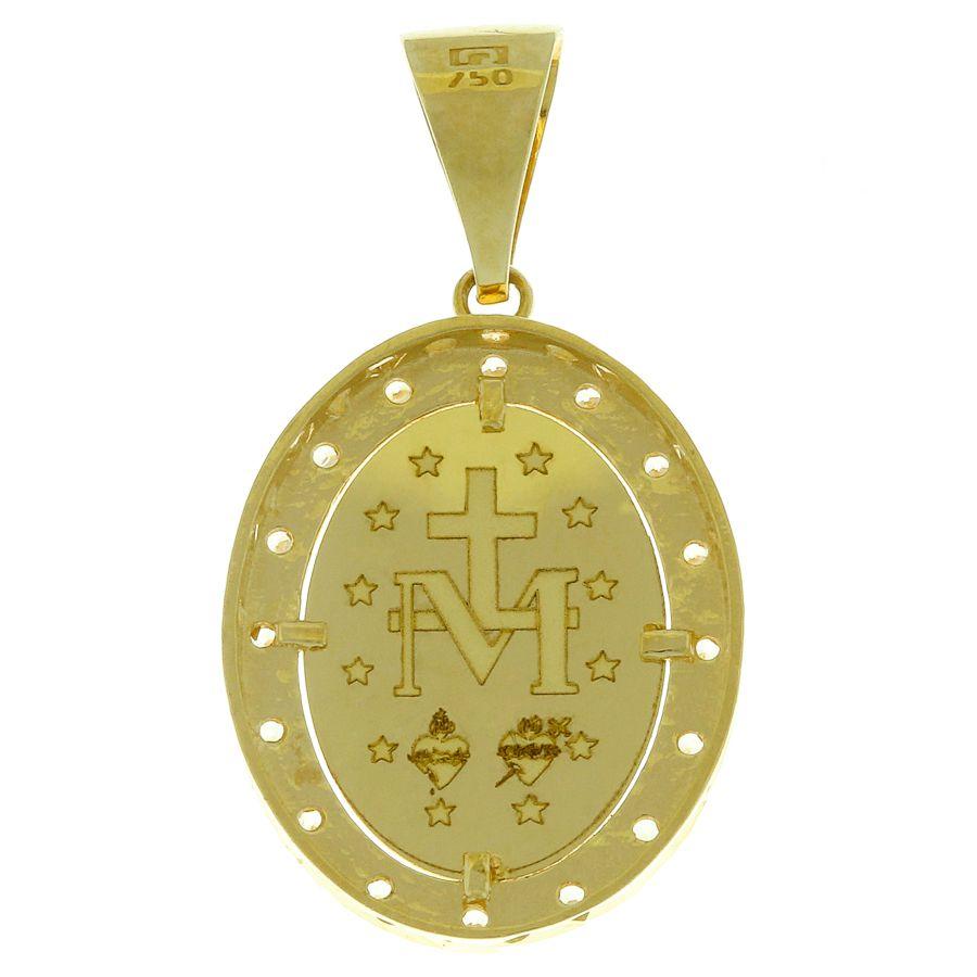 Pingente em Ouro 18K  Medalha Nossa Senhora das Graças com Zircônia  NP90584