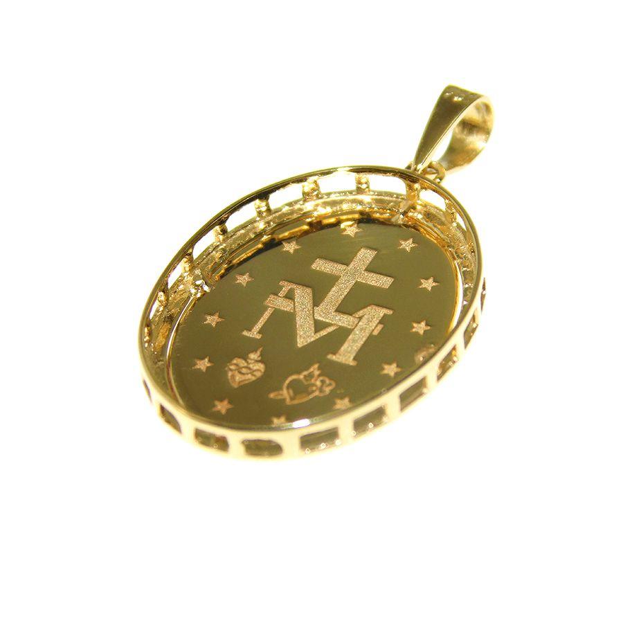 Pingente em Ouro 18K Medalha Nossa Senhora das Graças PG473P