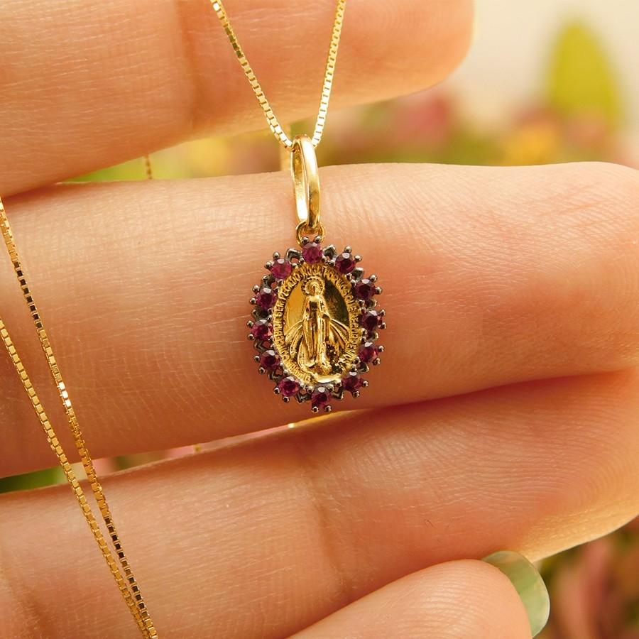 Pingente em Ouro 18K Medalha Nossa Senhora das Graças PI910647