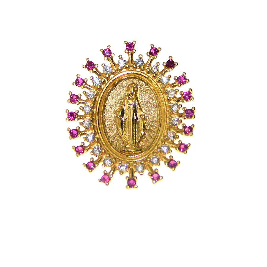 Pingente em Ouro 18K Medalha Nossa Senhora das Graças STM13ZV
