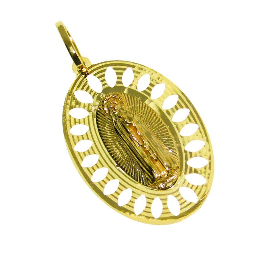 Pingente em Ouro 18K Medalha Nossa Senhora de Fátima NP916680