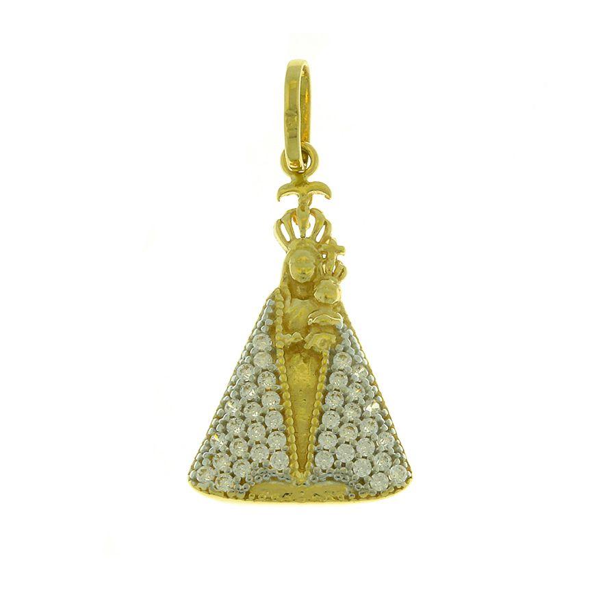 Pingente em Ouro 18K  Medalha Nossa Senhora de Nazaré com Zircônia  NP912040
