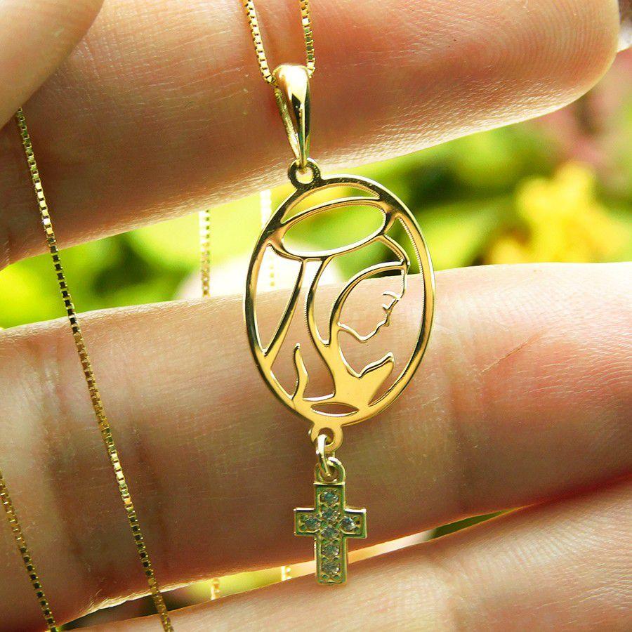 Pingente em Ouro 18K Medalha Nossa Senhora do Silêncio PN147Z