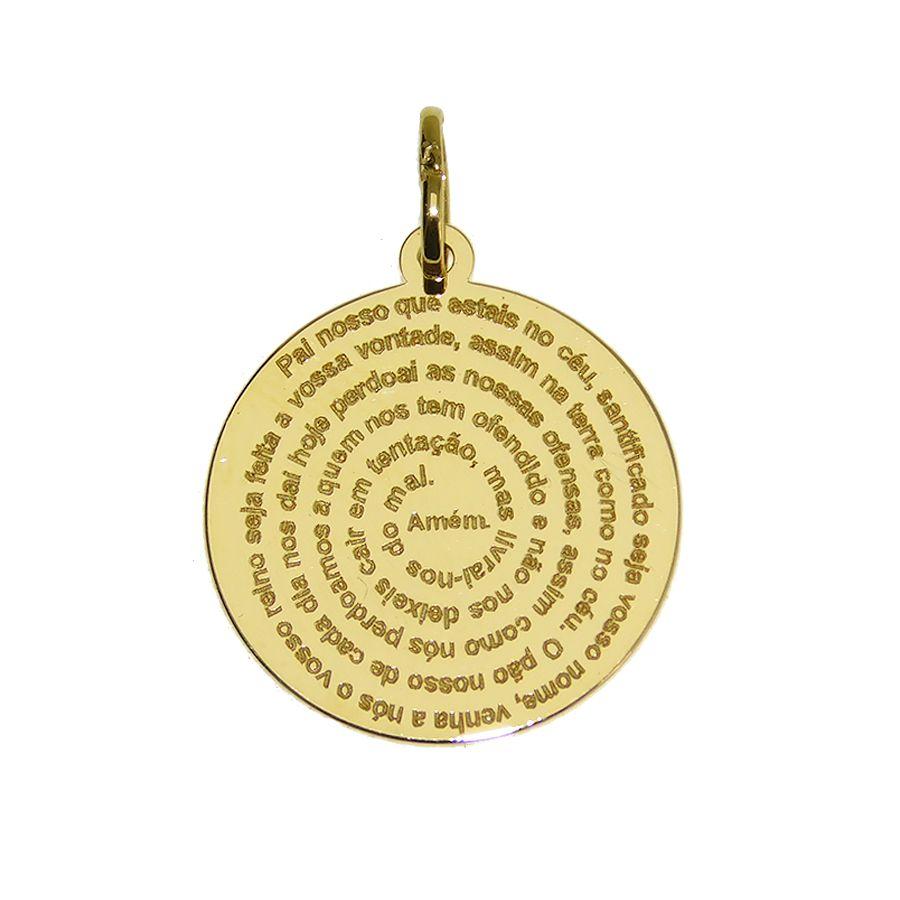 Pingente em Ouro 18K Medalha Oração Pai Nosso NP912199