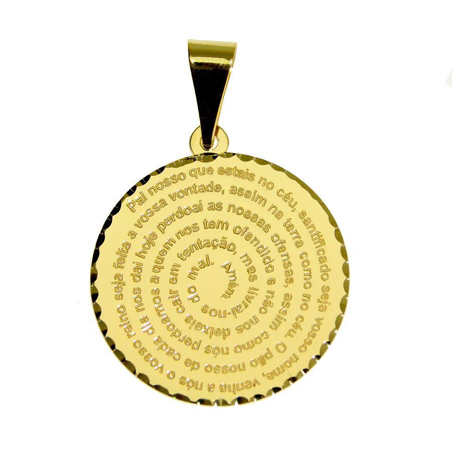 Pingente em Ouro 18K Medalha Oração Pai Nosso  NP912238