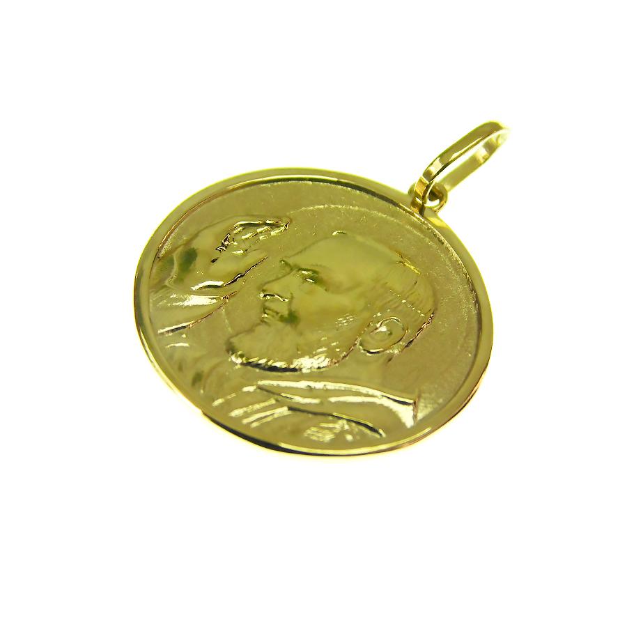 Pingente em Ouro 18K Medalha Padre Pio P01