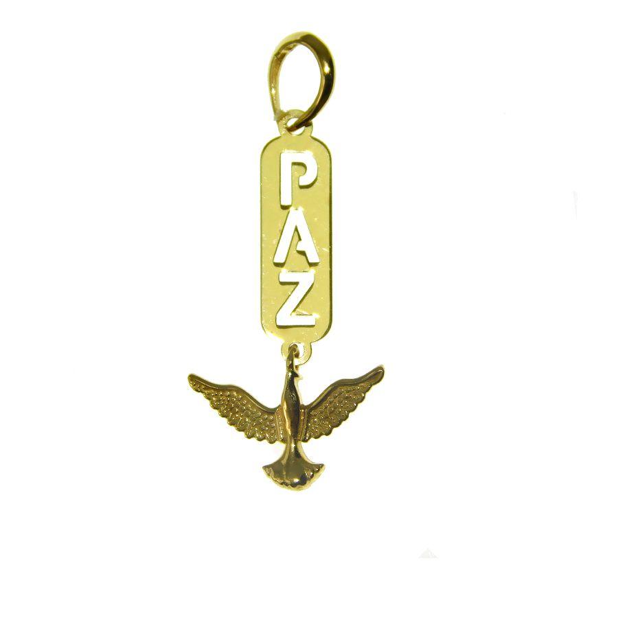Pingente em Ouro 18K Medalha Paz PN143