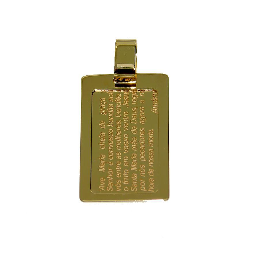 Pingente em Ouro 18K Medalha Placa Ave Maria NP913548