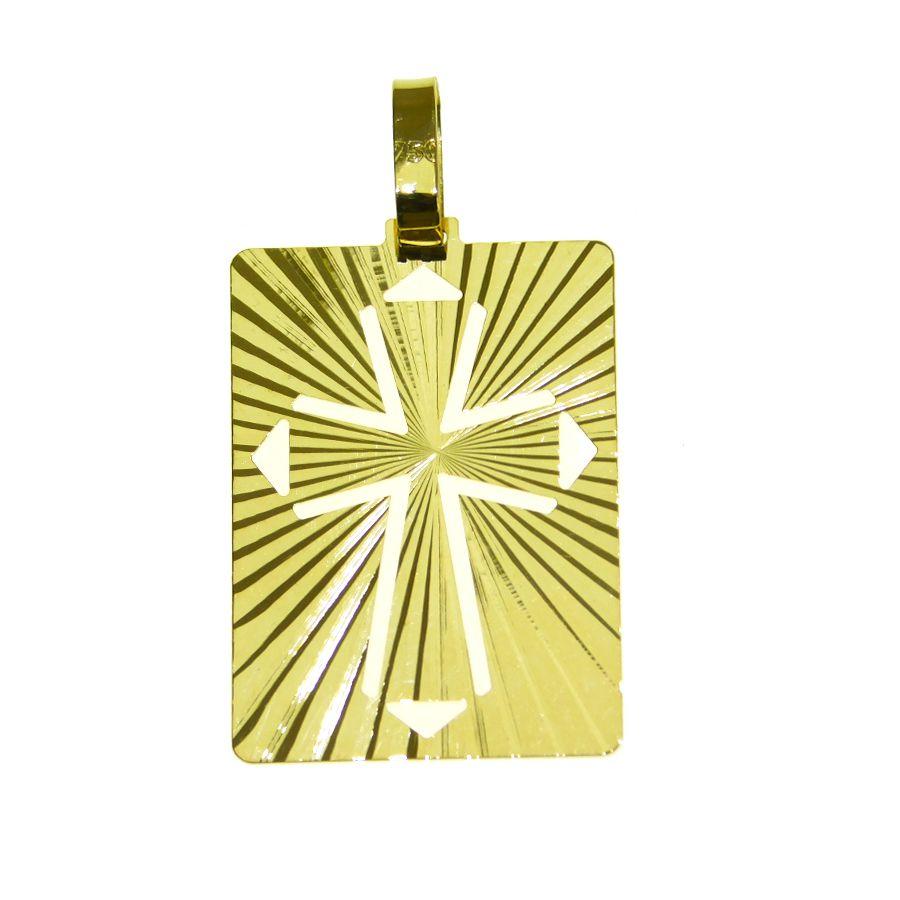 Pingente em Ouro 18K Medalha Placa Cruz vazada NP911889
