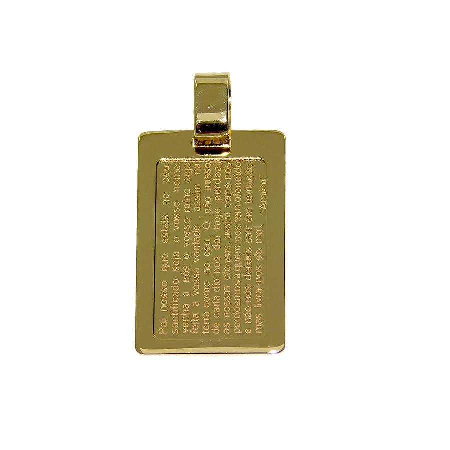 Pingente em Ouro 18K Medalha Placa Pai Nosso NP913547