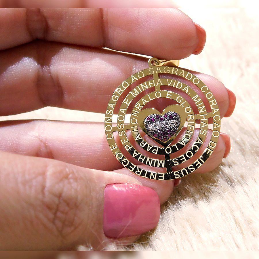 Pingente em Ouro 18K Medalha Sagrado Coração de Jesus com zircônia NP913714