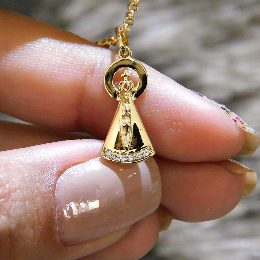 Pingente em Ouro 18K Medalha Nossa Senhora Aparecida com Zircônia NP913321