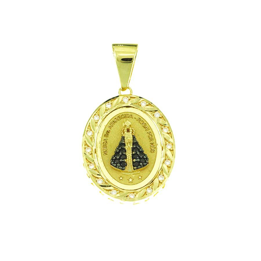 Pingente em Ouro 18K Nossa Senhora Aparecida com Zircônia NP912769