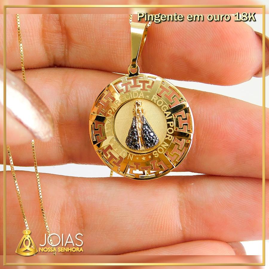 Pingente em Ouro 18K Nossa Senhora Aparecida NP916632 exclusivo