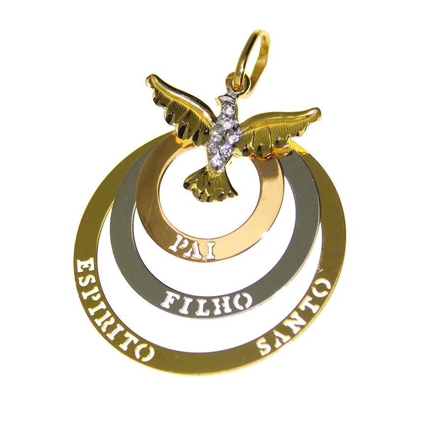 Pingente em Ouro 18K Pai Filho e Espírito Santo NP917685