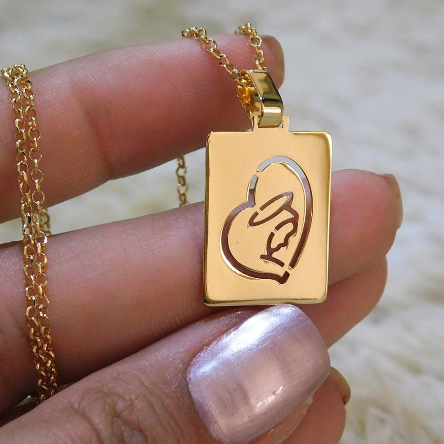 Pingente em Ouro 18K Placa de Nossa do Silêncio NP913725