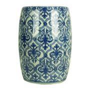 Banqueta Seat Garden de Cerâmica Azul e Branco