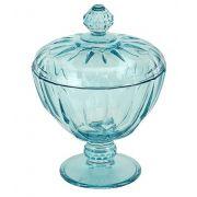 Bomboniere com Pé Diamond Vidro Azul Turquesa