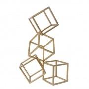 Escultura Geométrica Cubo Dourada 33 cm