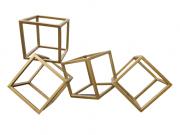 Escultura Geometrica Cubos Dourada 47 cm