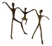 Escultura Passeio Bronze Casal com Menina