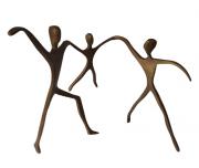 Escultura Passeio Bronze Casal com Menino