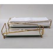 Jogo 2 Bandejas Dourada Lavabo + Toalha de Papel