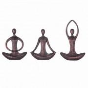 Jogo 3 Esculturas Yoga Bronze Envelhecido