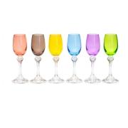 Jogo 6 Taças para Licor Cristal Colorido  Elisa - 65 ml