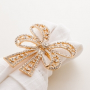 Jogo de Anéis para Guardanapos Laço 4 peças - Zinco Dourado