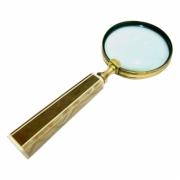 Lupa Decorativa de Aumento Metal Dourado Cabo Resina Bege