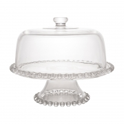 Prato para Bolo Cristal com Pé e Tampa Pearl 31 x 25 cm