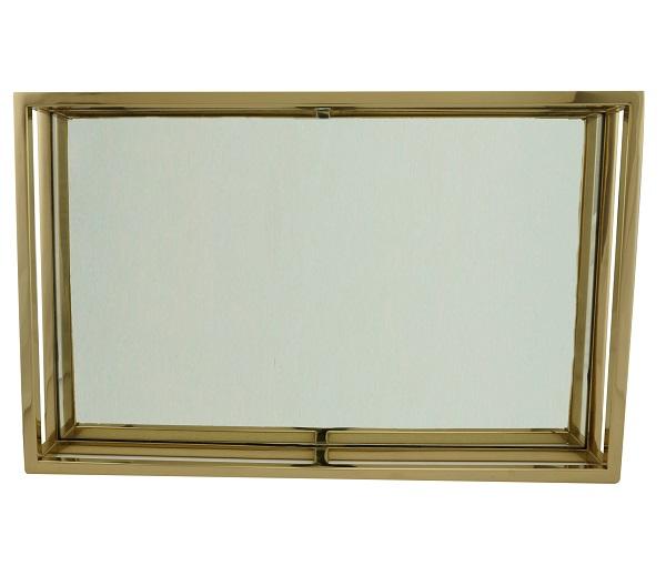 Bandeja Dourada Aço Inox com Espelho Dourada 41 x 26 cm