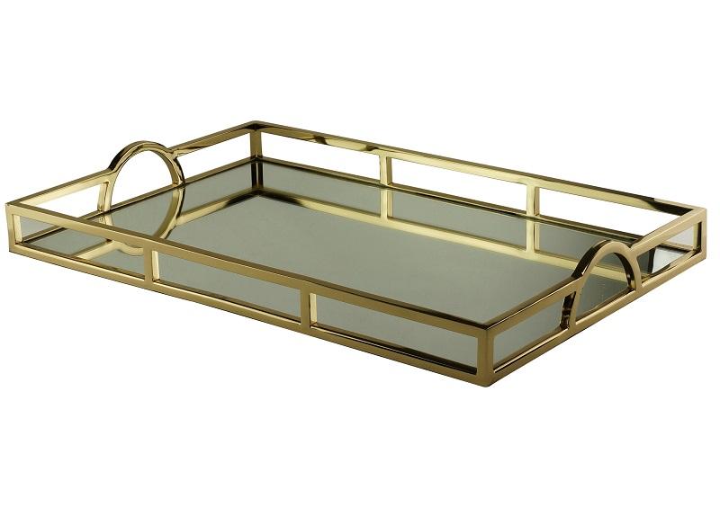 Bandeja Dourada Aço Inox com Espelho Dourada 56 x 36 cm