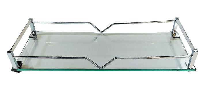 Bandeja Latão Cromado - Vidro 28 x 12