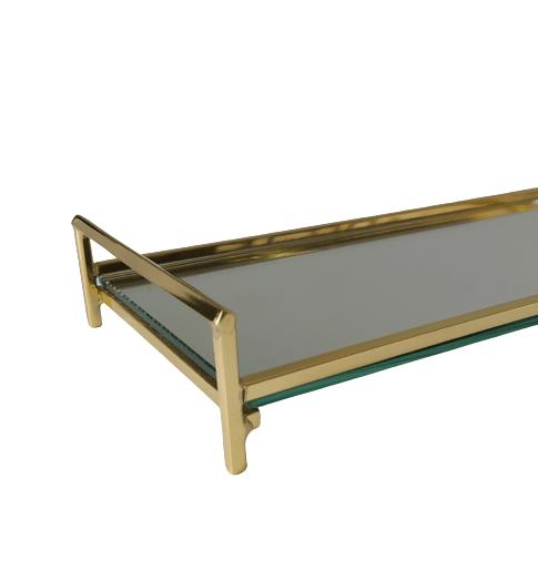 Bandeja Latão Dourado - Espelho 28 x 12
