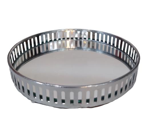 Bandeja redonda latão espelhada | 15 x 3 cm