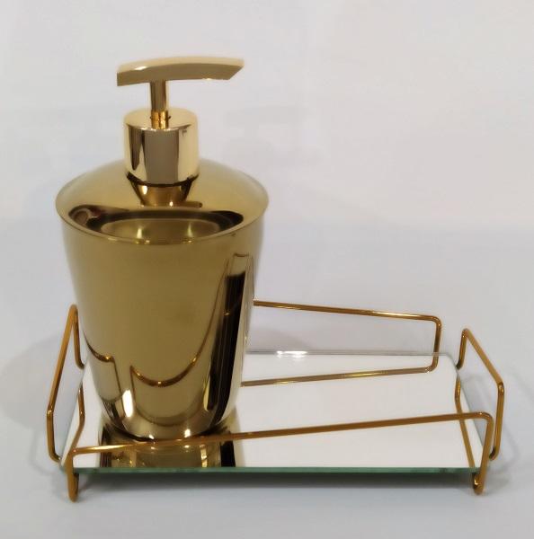 Bandeja Lavabo c/ Saboneteira Líquida - Dourado
