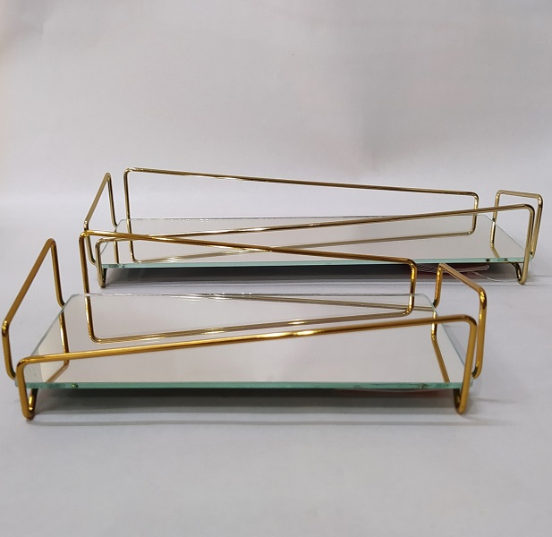 Bandeja Lavabo Golden c/ Espelho - Coleção Ângulo 10 x 20 cm