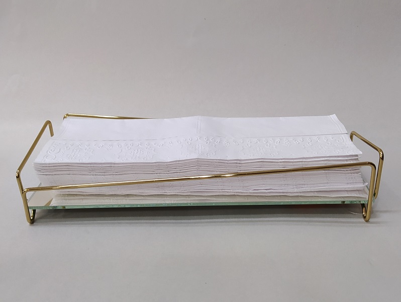 Bandeja Lavabo Golden c/ Espelho - Coleção Ângulo 10 x 28 cm