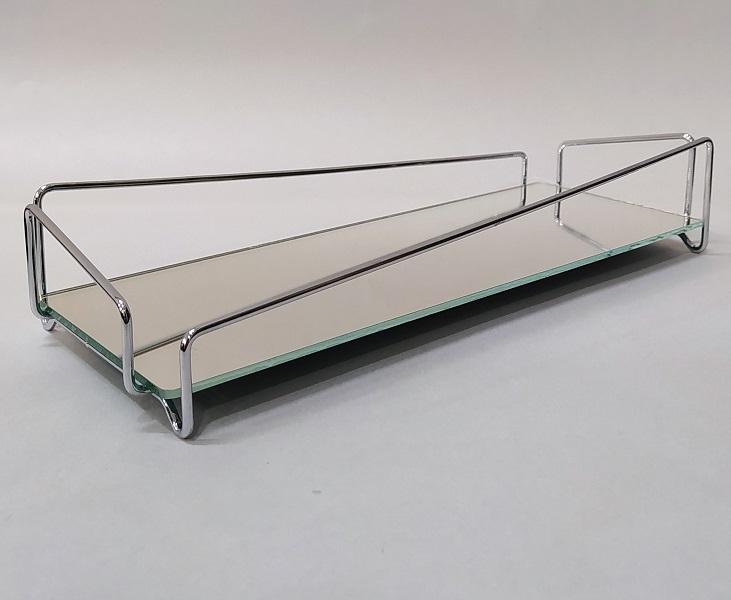 Bandeja Lavabo Prateada c/ Espelho - Coleção Ângulo 10 x 20 cm
