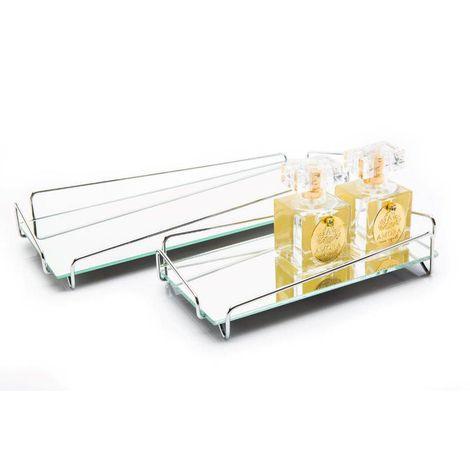 Bandeja Lavabo Prateada c/ Espelho - Coleção Ângulo 10 x 28 cm