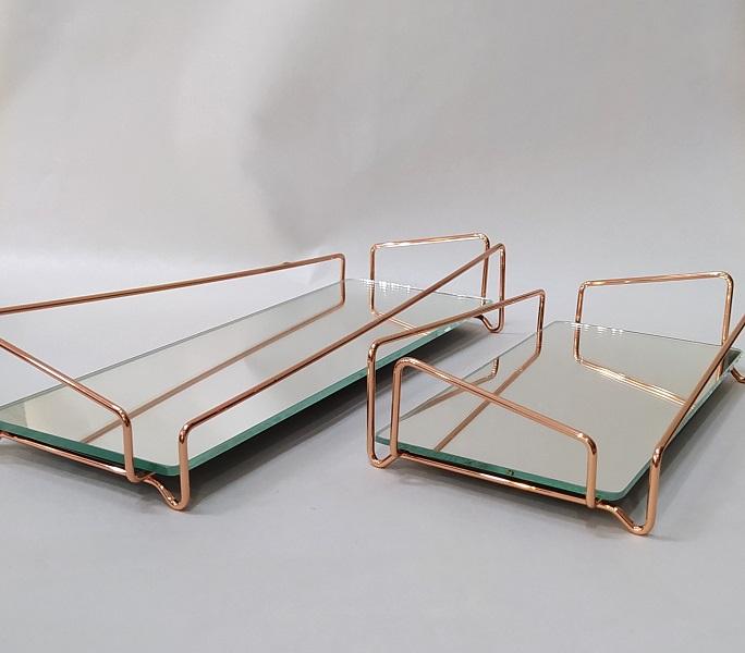 Bandeja Lavabo Rose Gold c/ Espelho - Coleção Ângulo 10 x 20 cm