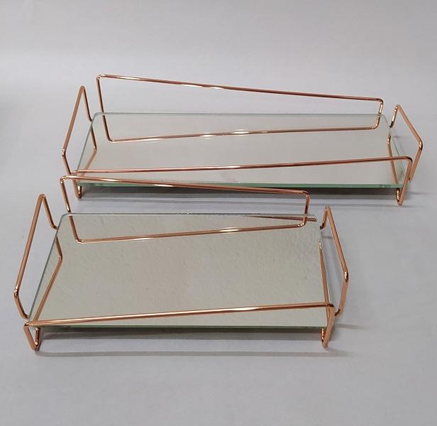 Bandeja Lavabo Rose Gold c/ Espelho - Coleção Ângulo 10 x 28 cm