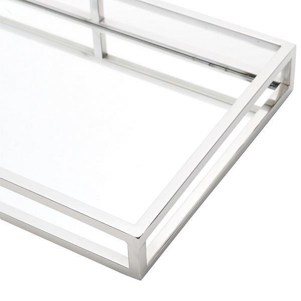 Bandeja Prateada Aço Inox com Espelho 41 x 26 cm