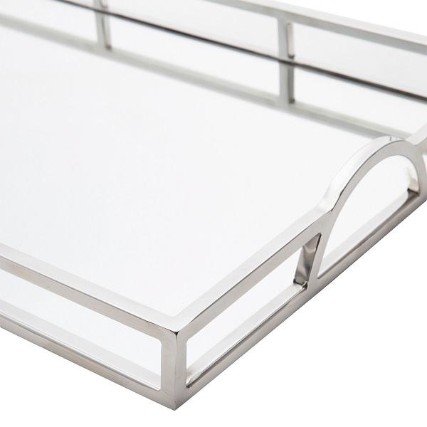 Bandeja Prateada Aço Inox com Espelho 56 x 36 cm