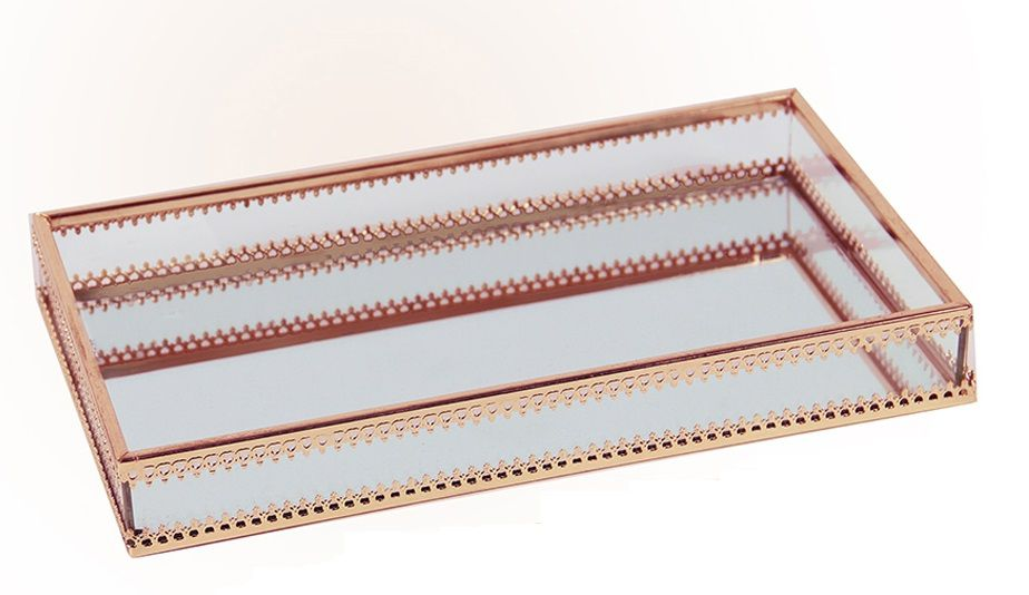 Bandeja Vidro Metal Transparente Cobre Md Kv0154