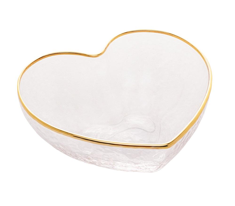 Bowl Heart Vidro c/ Borda Dourada 12 x 11 x 5 cm